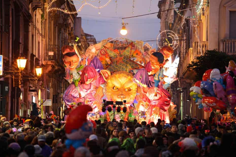 Traditional grotesque carts at Acireale Carnival, Catania, Sicily, Italy.