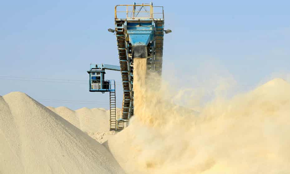 Untreated phosphate at OCP's Marca factory, near Laayoune, Moroccan-controlled Western Sahara