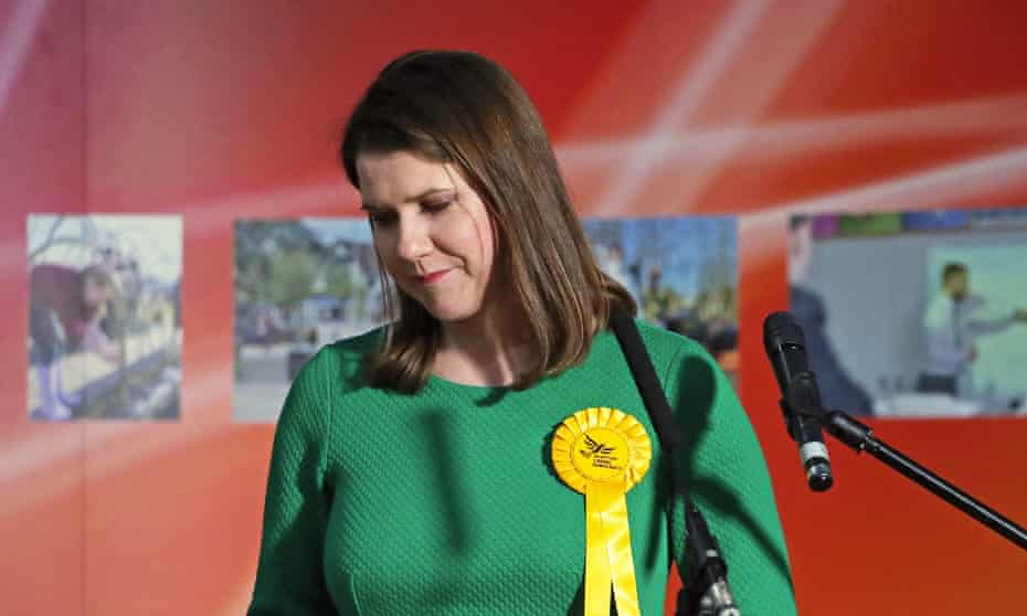 The Lib Dem leader, Jo Swinson, reacts after losing her East Dumbartonshire seat.