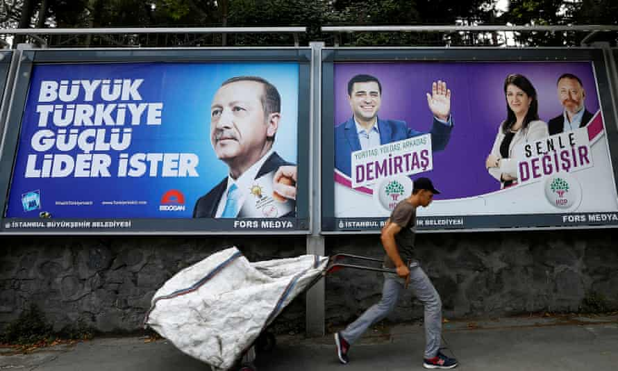 Election posters for Erdoğan (left), and Selahattin Demirtas's People's Democratic party.