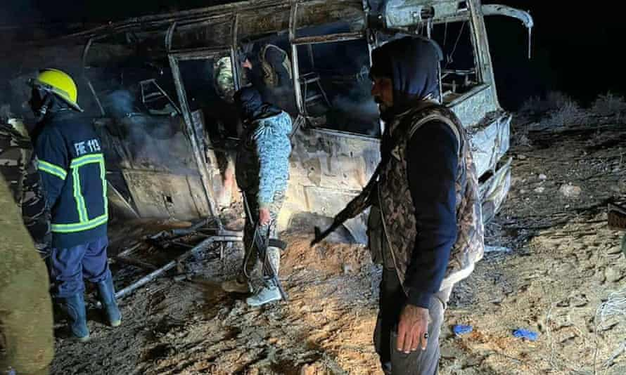 The scene of an attack targeting a bus transporting regime soldiers.