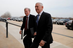 The US secretary of defense, James Mattis, greets John Bolton as he arrives at the Pentagon.