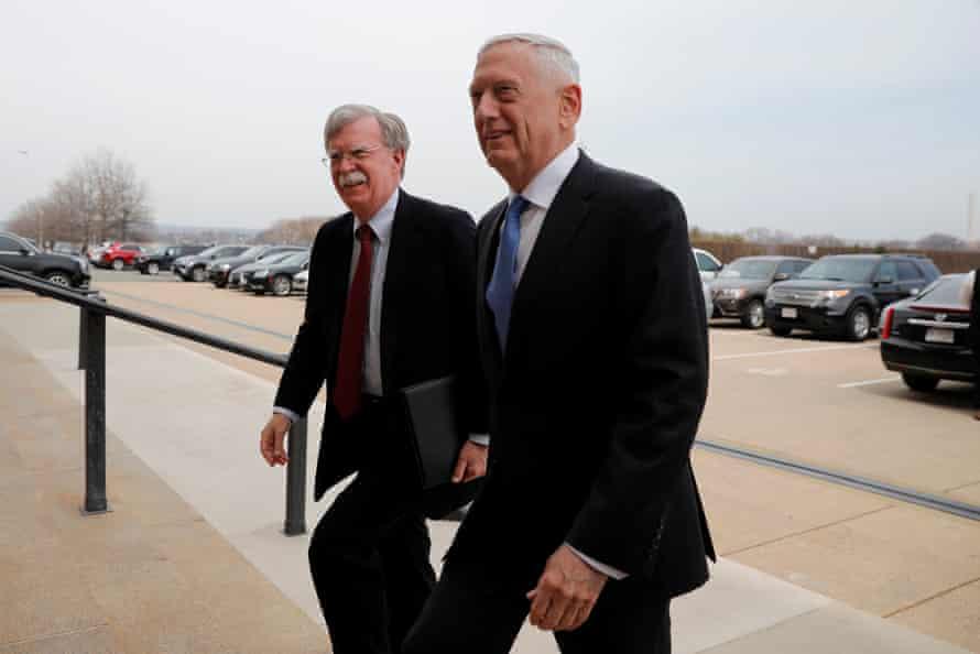 The US secretary of defense, James Mattis, greets John Bolton as he arrives at the Pentagon.