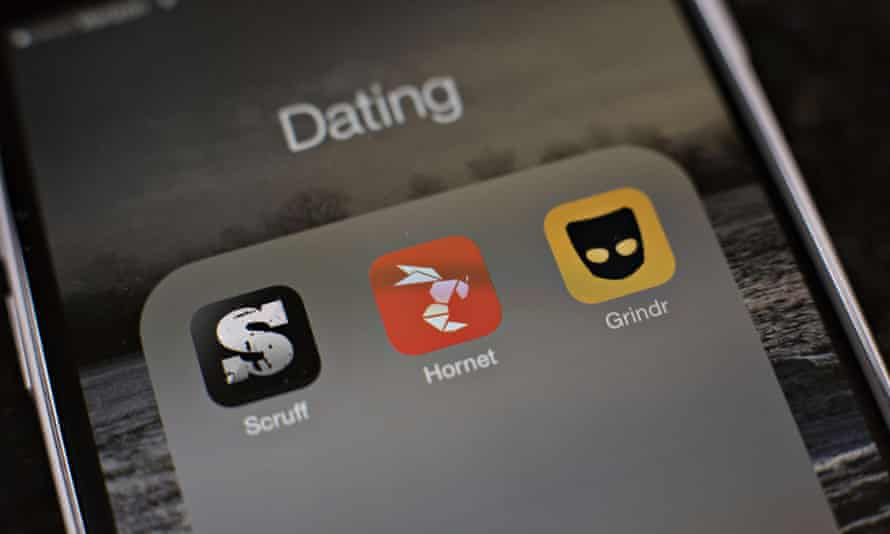 Gay dating apps Scruff, Hornet, and Grindr.