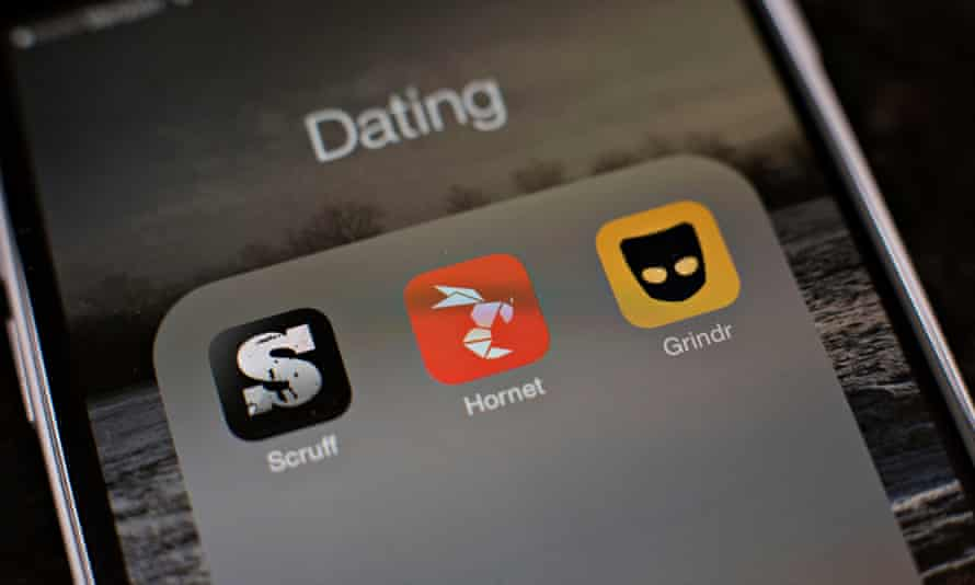 Gay sating apps on a phone.
