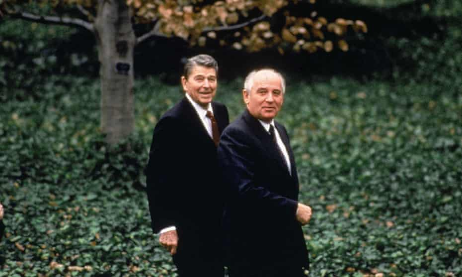 Mikhail Gorbachev with Ronald Reagan. In the 1980s Donald Trump claimed that in one hour with Gorbachev he could end the cold war.