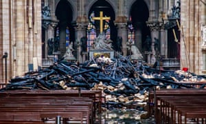 Debris inside the Notre Dame Cathedral after the fire on 15 April.