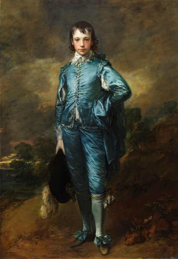The Blue Boy was painted in approximately 1770. It depicts a young boy with fair skin, rosy cheeks and brown hair who is dressed in a peacock-blue outfit. He has one hand resting on his hip and the other holds a hat with an ostrich feather