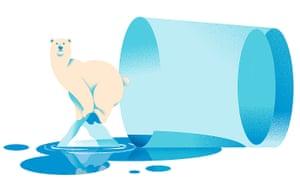Illustration of a polar bear on melting ice