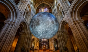 Museum of the Moon, a replica of the moon by artist Luke Jerram, in Ely Cathedral for the Science festival.