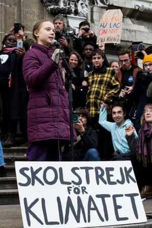 Swedish climate activist Greta Thunberg speaks to participants at a climate change protest in Lausanne, Switzerland