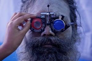 Kolkata, India A Sadhu has his eyes tested at a free eye-care camp in Kolkata