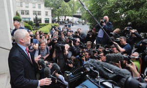 Jeremy Corbyn speaking to reporters as he leaves Labour's Clause V meeting