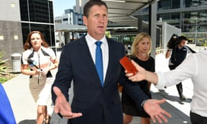 Former Queensland health minister Lawrence Springborg leaves the magistrates court in Brisbane in February 2016 after giving evidence to an inquiry into the decision to close the Barrett Adolescent Centre.