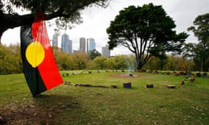 An Aboriginal sacred fire burns in Kings Domain in Melbourne, 2006.
