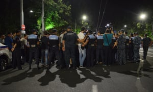 Protesters are blocked by police as they try to walk towards central Yerevan