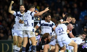 Bristol's players celebrate Dan Thomas' late try that capped an astonishing comeback at Sandy Park.