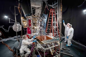 The Parker Solar Probe team prepare the spacecraft for space by testing in a thermal vacuum chamber at Nasa's Goddard Space Flight Center.