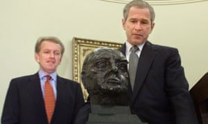 President George W Bush (right) accepting the Jacob Epstein bust of Winston Churchill with Christopher Meyer, the UK ambassador, on July 16, 2001.