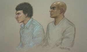 Court artist's sketch of Anas Abdalla (L) and Mahamuud Diini, who were both found in the back of a lorry trying to leave the UK covertly.