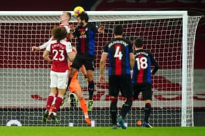 James Tomkins heads against the bar.