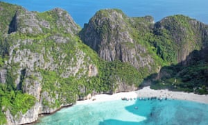 Photo of Maya Bay taken from a seaplane.