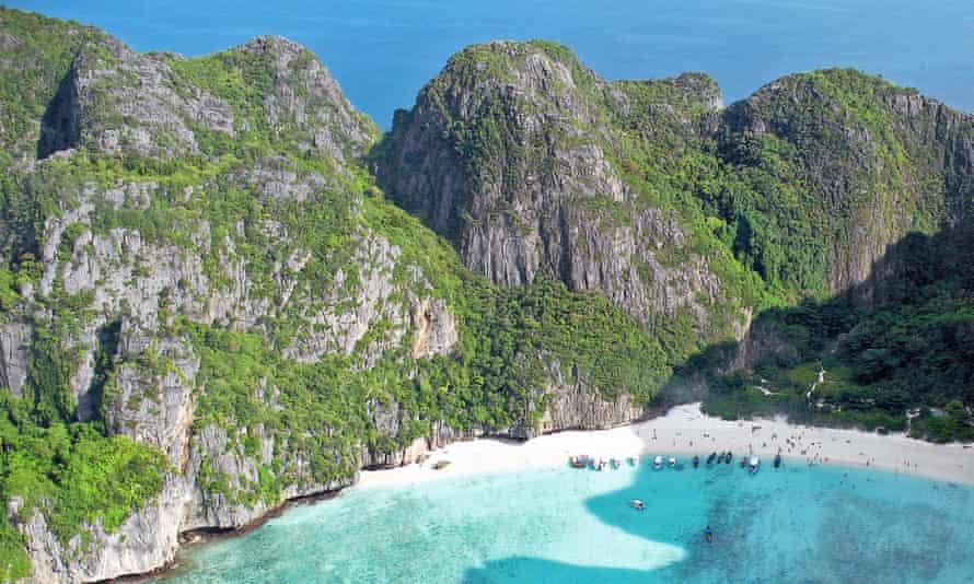 Photo of Maya Bay taken from a seaplane.