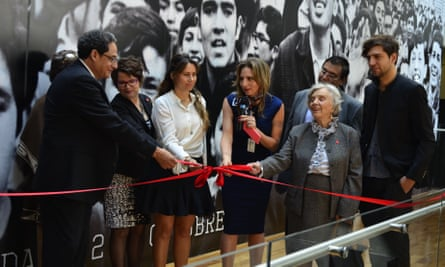 Elena Poniatowska attends the opening of the exhibition at the Museo Memoria y Tolerancia.