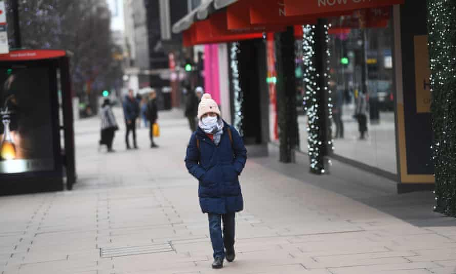 An unusually quiet Oxford Street in London on Boxing Day