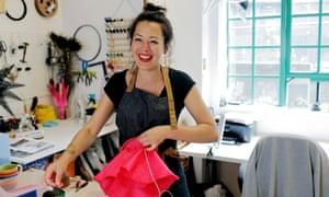 Hat maker working in her studio.