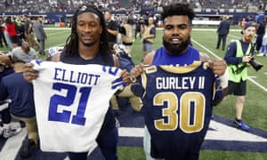 Ezekiel Elliott and Todd Gurley face off for a place in the NFC Championship game on Saturday