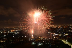 Fireworks illuminate the night sky in Kenya, Nairobi