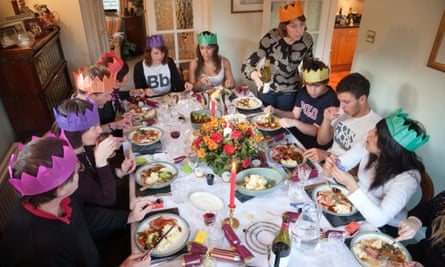 Family and friends at Christmas dinner
