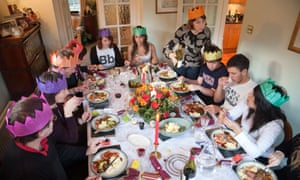 Family and friends at a Christmas dinner