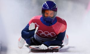 Dom Parsons of Great Britain slides into the finish area in the men's skeleton at the 2018 Winter Olympics.
