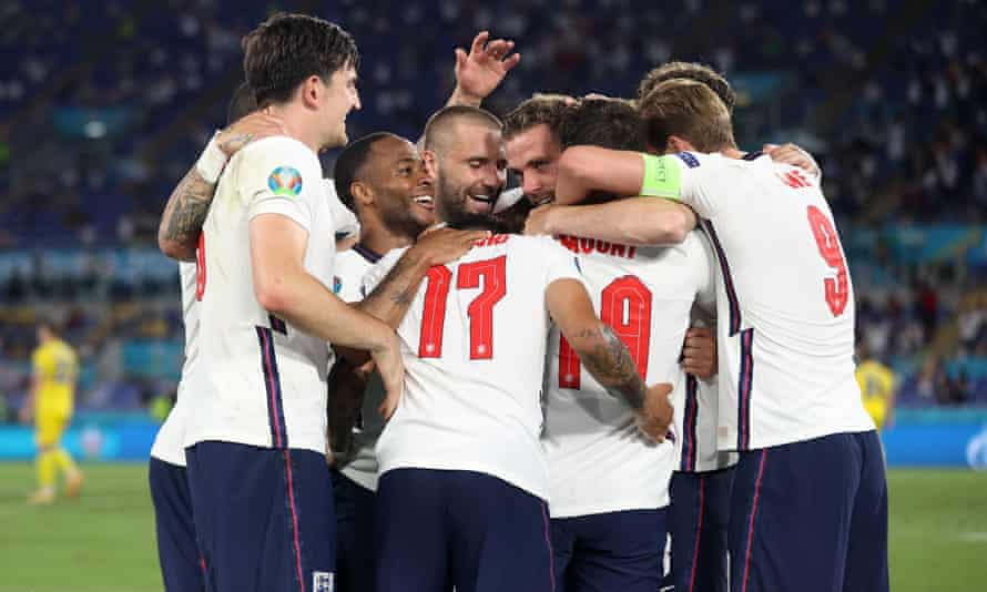 England players celebrate after Jordan Henderson's goal against Ukraine in Rome on Saturday night.