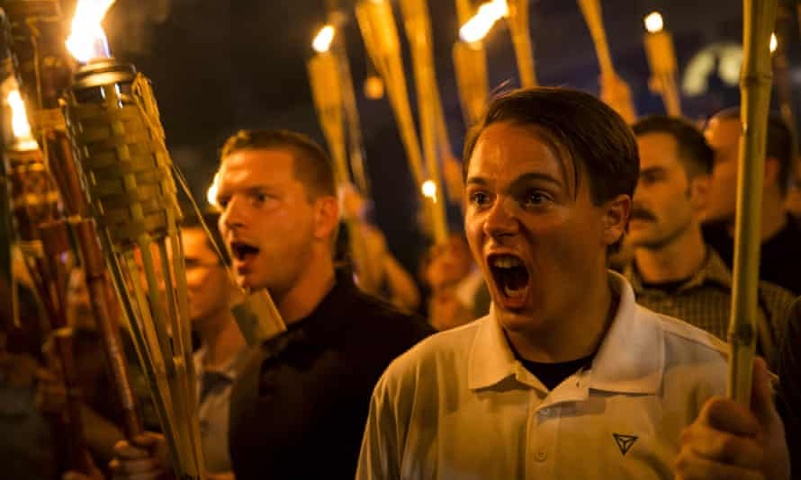 White supremacists at the University of Virginia on 11 August 2017.