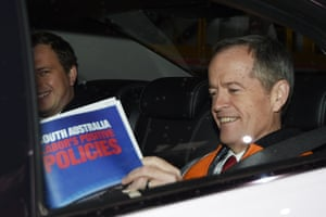 Bill Shorten leaves after a rail manufacturing facility in Adelaide on Thursday.