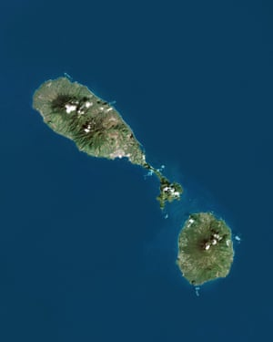 A satellite image of St Kitts and Nevis (the smaller island to the bottom right).