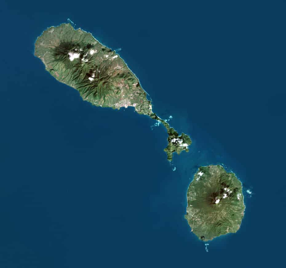 A satellite image of Saint Kitts and Nevis