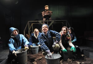Fen, 2011Alex Beckett, standing, Wendy Nottingham, Katharine Burford, Rosie Thomson, Nicola Harrison and Elicia Daly in Fen at Finborough theatre
