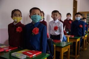 Primary school children in a class at Hasin primary school, Pyongyang.