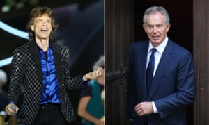 Moves like Jagger … Tony Blair, right, idolised the Stones frontman.