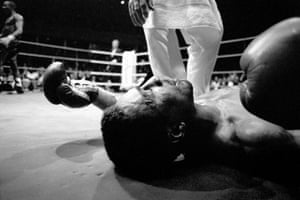Michael Watson is knocked out Mike McCallum in the 11th round of their WBA Middleweight world title fight in April 1990