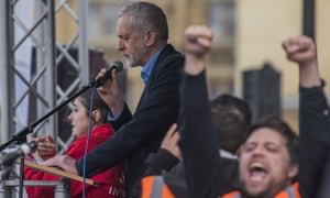 Jeremy Corbyn speaking at the rally for the NHS in London on Saturday.