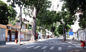 A deserted street in Ho Chi Minh City yesterday.