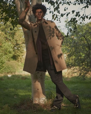 Coat, shirt, scarf, brown jumper, and black tux trousers, all celine.com. Loafers, £495, jwanderson.com
