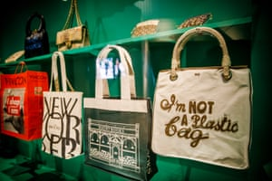 The exhibition explores the use of bags as a blank canvas for slogans and political messages