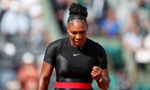 Serena Williams celebrates after winning a point in her first round match against Krystina Pliskova.