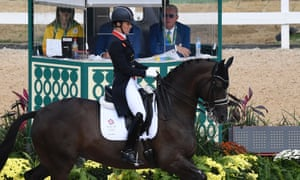 Britain's Charlotte Dujardin on Valegro performs her routine during the equestrian's dressage grand prix